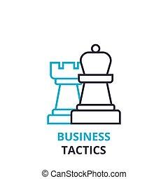 El concepto de tácticas de negocios, icono, signo lineal, pictograma de línea delgada, logo, vector plano, ilustración