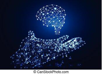 El concepto de tecnología abstracta es un enlace digital de mano y cerebro en su fondo tecnológico