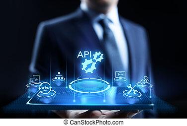 El concepto de tecnología de desarrollo de interfaz de aplicación API.
