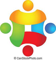El concepto de trabajo en equipo en cuatro colores
