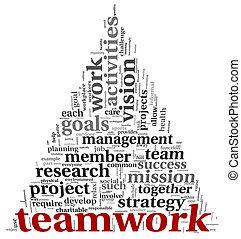 El concepto de trabajo en equipo en la nube de etiqueta
