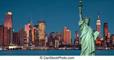 El concepto de turismo en Nueva York con la libertad de estatua