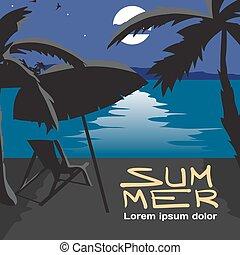 El concepto de vacaciones de verano con espacio para el texto. Ilustración plana de dibujos animados. Paisaje de playa de verano por la noche. Siluetas de palmeras, paraguas, casta a la luz de la luna. Camino lunar en el agua