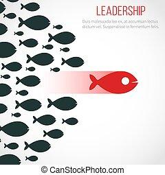 El concepto de vector de liderazgo de negocios con el pez líder rojo y el equipo ganador