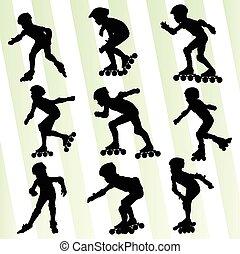 El concepto de vector de patinaje de niños