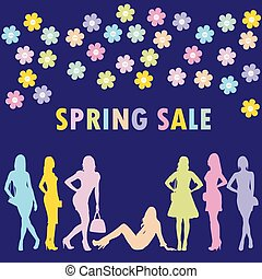 El concepto de venta de primavera con siluetas de mujeres de la moda