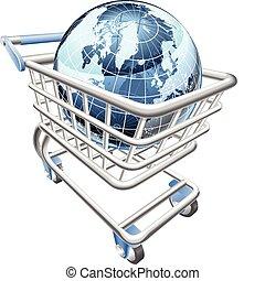 El concepto del carrito de la compra Globe