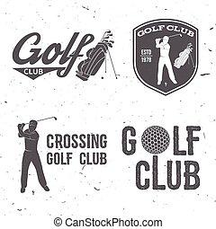 El concepto del club de golf con golfista y bolsa.