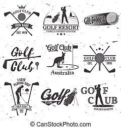 El concepto del club de golf con silueta de golfista.