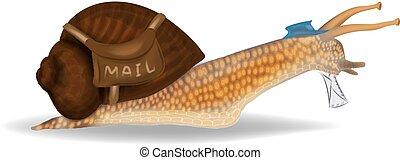 El concepto del correo caracol. Caracoles con carta y bolso de cartero