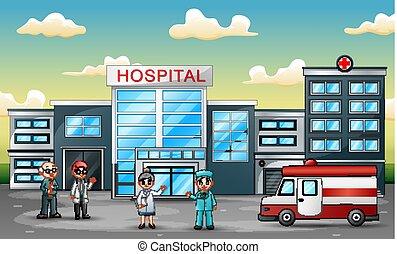 El concepto del equipo médico delante del hospital con una ambulancia