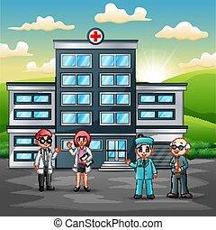 El concepto del equipo médico delante del hospital