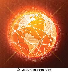 El concepto del globo de red naranja
