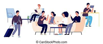 El concepto del hotel. Personajes planos de Vector. La ilustración de la sala de huéspedes con hombres y mujeres felices