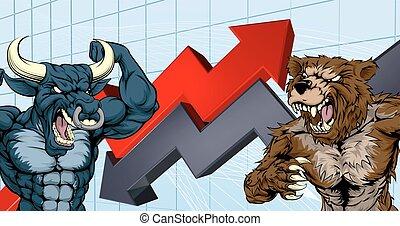 El concepto del mercado de valores de Bears contra Bulls