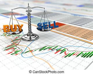 El concepto del mercado de valores. Escala en gráfico financiero.