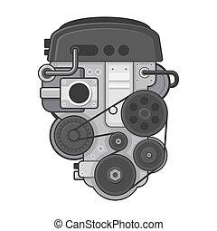 El concepto del motor del coche sobre fondo blanco. Vector