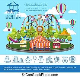El concepto del parque de diversiones
