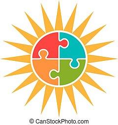 El concepto del vector del logo del rompecabezas solar.