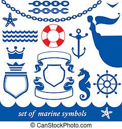 El conjunto de elementos marinos