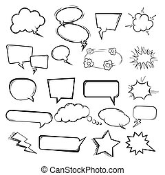 El conjunto de las burbujas del habla sobre fondo blanco. Diseños para ilustraciones de estilo cómico, folletos, carteles, sitios web.