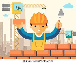 El constructor construye una pared de ladrillos