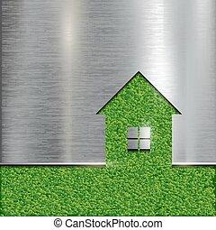 El contorno de la casa en un fondo de hierba.