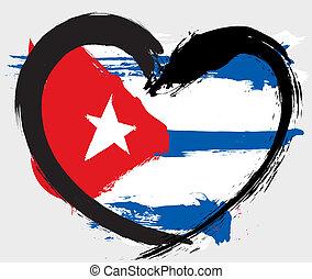 El corazón de Cuba forma bandera grunge