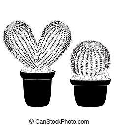 El corazón de Kaktus ha formado un tatuaje de cactus de hierba para la camiseta, el día de San Valentín de la tarjeta, una vista frontal aislada de cactus en cerámica en vector blanco de fondo