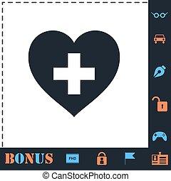 El corazón de la salud cruza icono