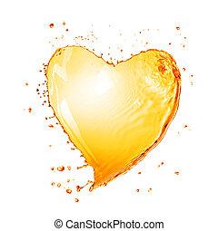 El corazón del agua amarilla salpica con burbujas aisladas en blanco
