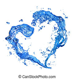 El corazón del agua salpica con burbujas aisladas en blanco