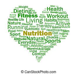El corazón nutricional muestra nutrientes saludables y nutricionales