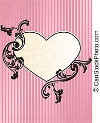 El corazón romántico moldeó el marco retro francés en rosa