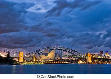 El crepúsculo del puerto de Sydney
