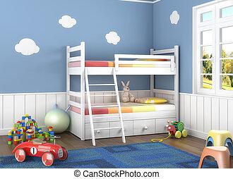 El cuarto de los niños azules con juguetes