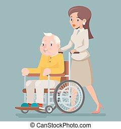 El cuidador de la enfermera que cuida a un anciano en silla de ruedas el personaje se sienta en dibujos animados para adultos