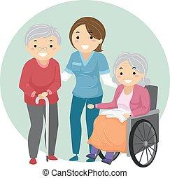 El cuidador de Stickman Seniors