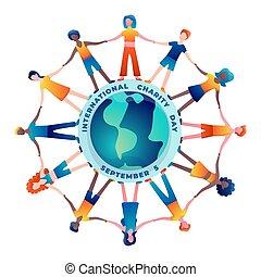 El Día de la Caridad Internacional ilustración de vectores coloridos con personas de todo el planeta que se toman las manos.
