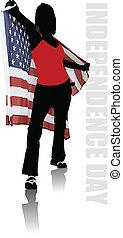 El día de la independencia postal de Estados Unidos de América con lugar para el texto