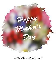 El Día de la Madre Feliz con un fondo floral borroso.