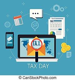 El día de los impuestos pone iconos