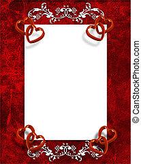 El día de San Valentín bordea los corazones rojos