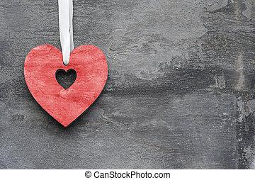 El día de San Valentín, corazón de amor con estilo rústico