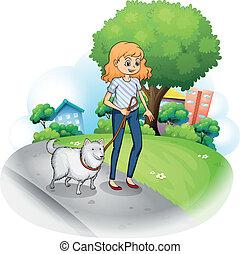 el dar un paseo, dama, perro, ella