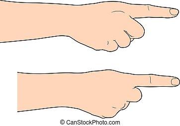 El dedo a mano señalando el fondo blanco, ilustración Vector