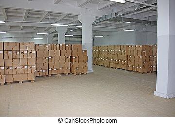 El depósito de cajas de cartón