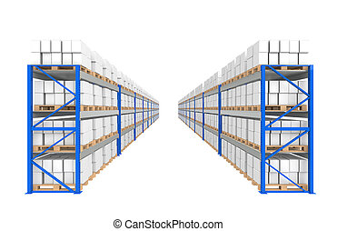 El depósito estalla dos filas. Parte de una serie de Blue Almacenes y logísticas.