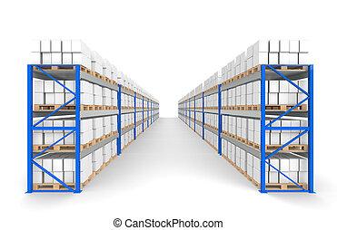 El depósito estalla dos filas. Sombras flotantes. Parte de una serie de Blue Almacenes y logísticas