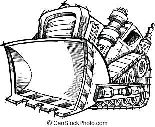 El dibujo de Doodle del vector tractor